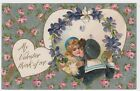 My Valentine POSTCARD Pink Roses on Silver & Kissing Couple inset w Winsch back