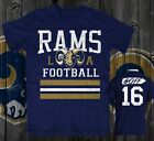 RAMS FOOTBALL JERSEY STYLE  T-SHIRT L.A. GURLEY ,GOFF. DONALD  NFC CHAMPS