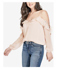 NEW Women's GUESS Lace-Up Cold-Shoulder Top Scallop Shell Peach