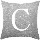 A-Z Letters Cushion Silver Throw Pillow Case Cover Home Sofa Bed Decor 45*45cm