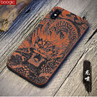 Dragon sculpture Natural Wood & soft hybrid Case for iphone 7 7 Plus 8 8 Plus X