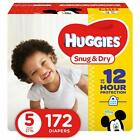HUGGIES Snug & Dry Baby Diapers Size 5 fits 27+ lbs. 172 Count Packaging May