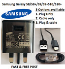 Genuine Samsung FAST Charger Plug OR Type C USB Cable Galaxy S8 S8+ S9+ S10