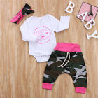 Newborn Infant Baby Girl Camouflage Outfit Clothes Romper Top+Pants+Headband Set