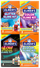 Elmers Glue Slime Kit Colored Glow In The Dark Opaque Translucent Slime kit 4pck