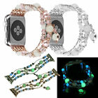 Night Luminous Elastic Stretch Faux Pearl Beads Strap F Apple Watch Series 3/2/1