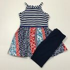 Emily Rose NWT 5 6 8 Boutique Stripe Zip Dress Top Legging Outfit Red White Blue