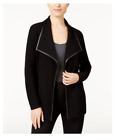 NEW JM Collection Wing-Collar Faux-Leather-Trim Cardigan Black Sizes S, L, XL