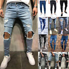 Mens Skinny Jeans Trousers Biker Destroyed Frayed Stretch Denim Ripped Pants