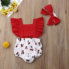 Newborn Baby Girl Clothes Summer Jumpsuit Romper Bodysuit + Headband Outfits US