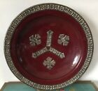 Beautiful Dark Red Moroccan Pottery/terra Cotta Bowl With Silver Tone Detail