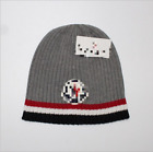 Moncler Stripe Logo Wool Rib Knit Beanie Hat Grey One Size Made in Italy