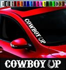 """20"""" Cowboy Up Side Windshield Banner Car Decal Sticker Cowgirl Redneck Boots Hat"""