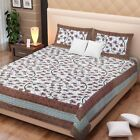 ndian Cotton Printed double bed sheet with 2 pillow covers