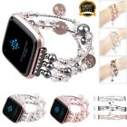 Women Agate BLING Beads Elastic Strap Bracelet Band For Fitbit Versa Wristband image