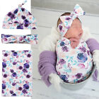 3Pcs Newborn Baby Floral Cotton Swaddle Muslin Blanket Wrap Swaddling Blanke