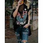 Womens Sexy Black Mesh Skull Patriot Steampunk Distressed Graphic T-Shirt