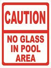Caution No Glass in Pool Area Sign. Size Options. Deck Patio Area Rules Danger