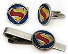 Superman Cufflinks, Justice League Tie Clip, Superhero Groomsman Gift Cuff Links
