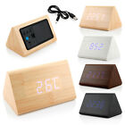 US Classical Triangular Digital LED Wood Wooden Desk Alarm Clock Thermometer 1PC