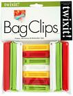 Twixit Linden Sweden Bag Clips, White/Yellow/Red/Lime, Set of 6 Large and 7