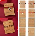 Hot Lucky Adjustable Heart Horse Card Bracelet Rope String Women Jewelry Bangle