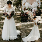 Modest Country Weddng Dresses A Line V Neck Long Sleeve Sweep Train Bridal Gowns