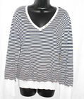 IZOD Sweaters Size L NWT Stripe 100% Cotton Long Sleeves V Neck Button Trim $44