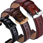 18 20 22mm Genuine Leather Wrist Watch Band Strap Wristband + Quick Release pins image