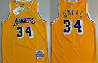 Mens Los Angeles Lakers 34# Shaquille O'Neal embroidery basketball jersey yellow on eBay