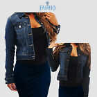 Внешний вид - Women's Full Long Sleeve Denim Jacket Basic Cropped Button Coat Jean Soft Vest