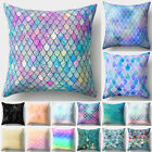 45x45cm Decorative Pillow Cover Square Cushion Pillowcase Sofa Mermaid Scale