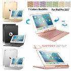 7 Colors Backlit Bluetooth Keyboard Witty Rotating Case Cover For iPad Air 10.5""
