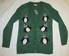 Ugly Christmas Sweater Penguin Jewels Wet Seal Tacky Party Holiday Cardigan