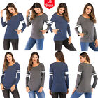 Fashion Women Long Sleeve Loose Button Stripe Crew Neck Blouse Tee Sport T-shirt