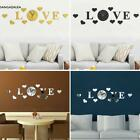 Creative Diy Decoration Acrylic Heart Letters Round Wall Clock Stickers s2zl