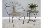 Peacock Chair & Matching Stool Garden Patio Furniture Rustic Gold Metal Seating