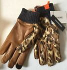 Honns Mens Leather Gloves Brown Gray Camo Touchscreen Size Large Logan Wool