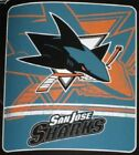 New San Jose Sharks Soft Fleece Throw Gift Blanket NHL Hockey Puck Team Logo NIP