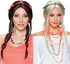 Ladies Brown or Blonde Plaited 1960s Hippie Hippy Wig Fancy Dress Costume Outfit