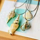 Natural Starfish Conch Seashell Pearl Pendant Necklace Rope Chain Jewelry Party