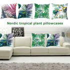 Velvet Pillow Case Cover Green Leaves Throw Sofa Car Waist Cushion Home Decor  image