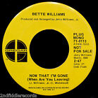 BETTE WILLIAMS-If She's Your Wife+Now That I'm Gone-Northern Soul DJ 45-GREGAR