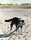 Beach Dog Art PRINT Wall Art from original oil painting by James Coates 803