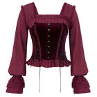 Ladies Gothic Victorian Long Sleeve Square Neck Lace-up Back Tops Leisure Simple