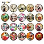 12pcs Glass Snap Charms Mix Combination 18mm Ginger Snap Button For Snap Jewelry image