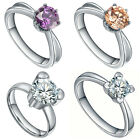 Women's Stainless Steel Cubic Zirconia Solitaire Wedding Engagement Ring $6.97 USD on eBay