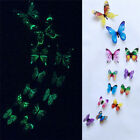 12pcs Luminous Butterfly Glow In Dark Wall Sticker Removable Home Decor