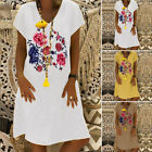 ZANZEA UK Womens Floral Short Sleeve V Neck Loose Long Tops T-Shirt Beach Dress