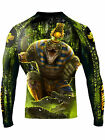 Raven Fightwear Men's The Gods of Egypt Sobek Rash Guard MMA BJJ Black